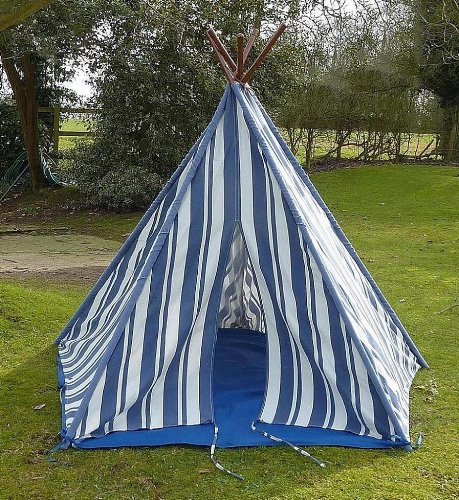 Wigwam Teepee Play Tent - Canvas - Blue Stripes