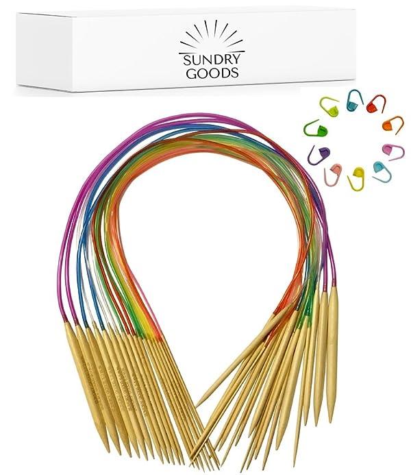 20 inch bamboo circular knitting needles US 0 to 10