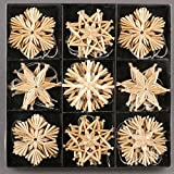 27 Stück Stroh-Sterne zum Hängen 6 cm - Baumschmuck
