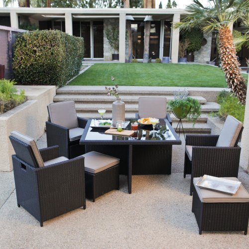Coral Coast Kubi All-Weather Wicker Nesting Dining Set- Seats 4 image