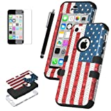 Pandamimi ULAK(TM) Hybrid High Impact Case for iPhone 5C With Soft TPU and Hard PC (USA/Black) Reviews
