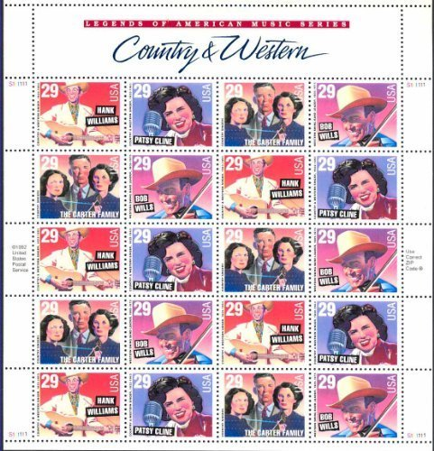 Country Music Legends Collectible Stamp Sheet of 20 29 Cent Stamps Scott 2771-74