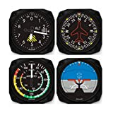 Classic Airplane Instrument Coasters Set of 4 (Color: Black)