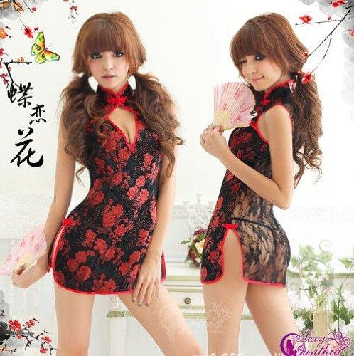 チャイナドレス コスプレ セクシー透視 赤x黒 刺繍 チャイナ 衣装 コスチューム