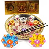 Giftacrossindia Diwali Thali And Earthen Diya With Gold Plated Lakshmi Note For Diwali Pooja Accesories Gift Collection