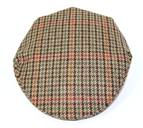 Stanbury British Tweed Traditional Teflon Coated Brown, Green and Red Check Wool Flat Cap