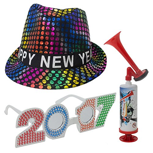 New Years Eve Decorations - Happy New Year Fedora Multi Color Polka Dot Hat - 2017 Glasses - Air Horn - Party Decor Accessory