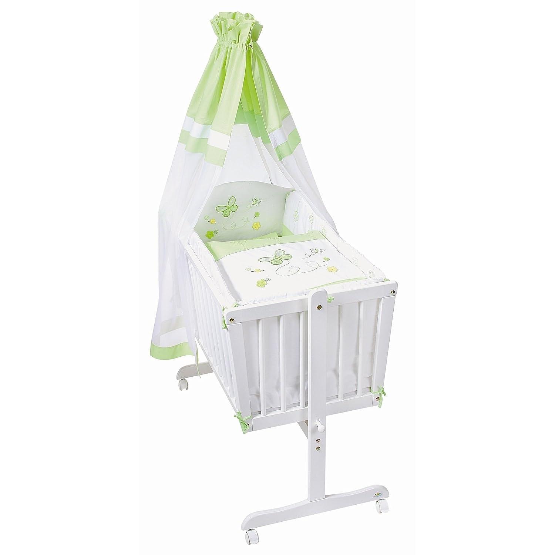 Easy Baby Wiege Komplettset natur, Butterfly green 181-88