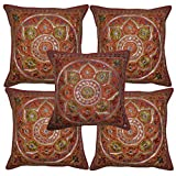 Jaipuri Handmade Embroidery Mirror Work Design Cotton Cushion Cover Set Of 5 Pcs 16x16 Inches
