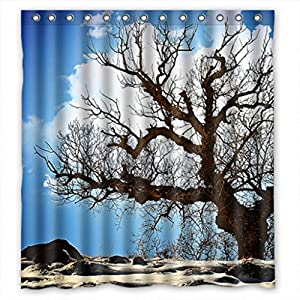 Clear Tree Design Fabric Shower Curtain 66 W X72 H