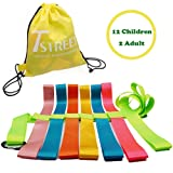 Safety Walking Rope with Colorful Handles for up to 6 Children,10 Children and 12 Children-Perfect for Daycare Schools and Teachers.-by T Street (Color: Fluorescent Green, Tamaño: 12Childrens(142 in))