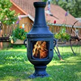 Venetian Influenced Chiminea With Pedestal And Charcoal Finish (Gas Fueled Natural)