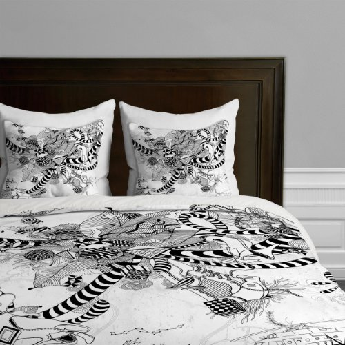 Deny Designs Iveta Abolina Black And White Play Duvet Cover, Queen back-937033