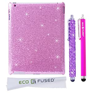 *BLING* 360 Rotating iPad 3 White Leather Case with Sparkling Crystals/ One *BLING* Stylus / One Stylus - ECO-FUSED® Microfiber Cleaning Cloth 5.5x3.0