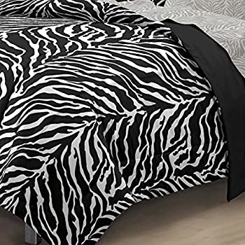 My Room Zebra Ultra Soft Microfiber Comforter Sheet Set,White/ Black, Twin/Twin X-Large
