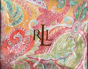 """Lauren Ralph Lauren """"Jamaica Paisley Coral Queen Flat Sheet"""