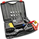 HyperPS 20000mah Multi-Function Car Jump Starter Kit with Built-in Survival Hammer, Blade, LED Torch Flashlight and 150 PSI Air Compressor Tire Pump (11 Items)