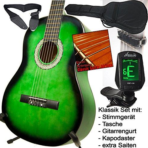 sfq24 Schüler Klassik Konzertgitarre grün schattiert, mit LED Stimmgerät, Tasche mit Rucksackgarnitur, Extra Saiten, Kapodaster und Lehrbuch: Sonny's einfache Gitarrengriffe, USA