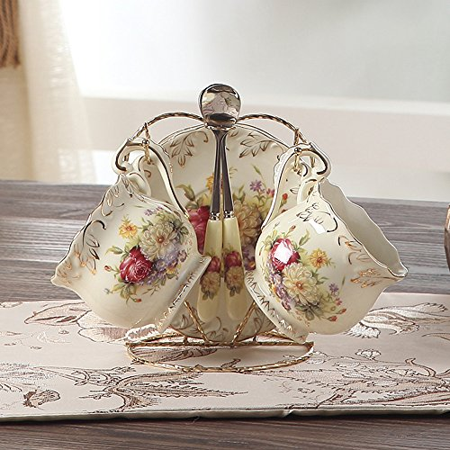 ufengke®4 Pieces Creative European England Luxury Hand Painted Red And Gold Flower Ivory Porcelain Ceramic Coffee Set Tea Set Tea Service (China Coffee Service compare prices)