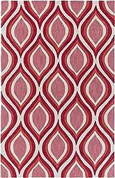 Coral Multi Designer Rug Contemporary 5-Foot x 7-Foot 6-Inch Hand-Made Geometric Lattice Carpet
