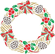 CHRISTMAS WREATH Stencil size 14quotw x 14quoth Reusable Stencils for Painting - Best Quality Christ