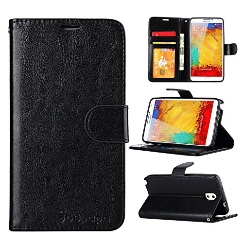 Note 3 Case, Galaxy Note 3 Case, Joopapa Galaxy Note 3 Luxury Fashion Pu Leather Magnet Wallet Flip Case Cover with Built-in Credit Card/ID Card Slots for Samsung Galaxy Note 3 N9000 (Black) (Galaxy 3 Phone Cases Wallet compare prices)