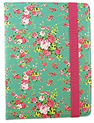 Emartbuy® Noza Tec 9.6 Inch Quad Core 3G Tablet Universal Range Green Rose Garden Premium PU Leather Multi Angle Executive Folio Wallet Case Cover With Card Slots + Stylus
