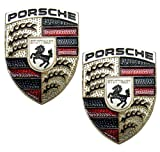 2 X Porsche Real Aluminum Car Logo Badge Emblems (Pair/Set) for 911 914 993 928 968 944 986 930 996 924 996 997 Boxster Cayenne Carrera Targa Panamera Cayman