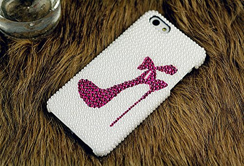 Heels iPhone Case for iPhone5/6/7 Pearled iPhone 6s Case Hot Pink Crystal Girls Cute iPhone 7 Plus Case iPhone 6s Cover Ivory (Iphone5 Case Crystal compare prices)