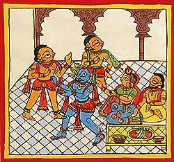 DollsofIndia Krishna with Yashoda & Nandaraja - Phad Painting - 5.5 x 5.5 in.