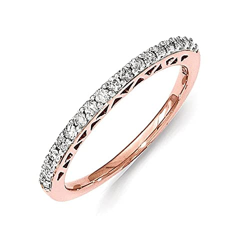 Sterling Silver w/Rose Gold-plating Polished Diamond Ring
