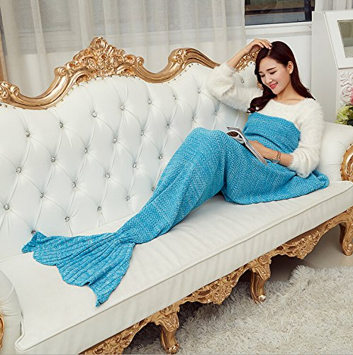 Maxchange Mermaid Blanket ,Super Soft Sleeping Bags ,Christmas,Birthday Holiday Gifts for All Seasons (Blue)
