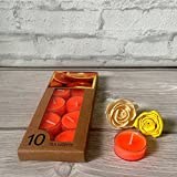 Devinez Scented Orange Smokeless Tealight Candles With Crystal Case, (Pack Of 10), 4.5 Hour Buring