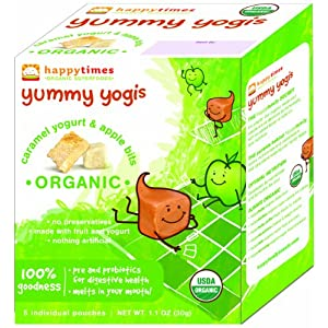 Happy Times Yummy Yogis, Caramel Yogurt and Apple Bits, 1.1-Ounce Package