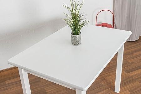 Massivholz Esstisch 70x100 cm Kiefer, Farbe: Weiß