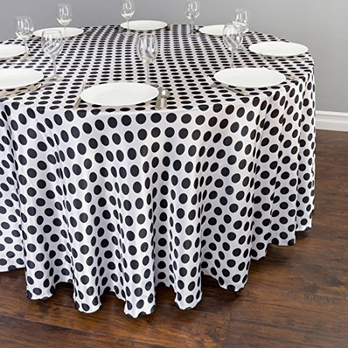 120 In Round Polka Dot Satin Tablecloth White Black