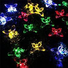 AMARS 16ft48M 20leds Butterfly Solar Powered Butterfly Garden String Lights Waterproof Fairy Lights