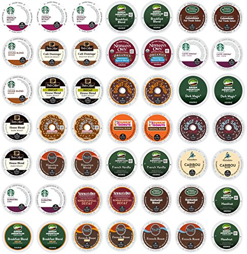 Blue Ribbon Gifts Coffee Variety Sampler Pack, Best K-Cup Coffee Brands, Single Serve Cups for Keurig Brewers, 49 Count (Starbucks Decaf Dark Roast K Cups compare prices)