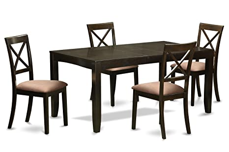 East West Furniture LYBO5-CAP-C 5-Piece Dining Table Set, Cappuccino Finish