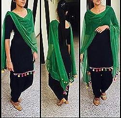 New Green Black Cotton fumka patiyala dress materials