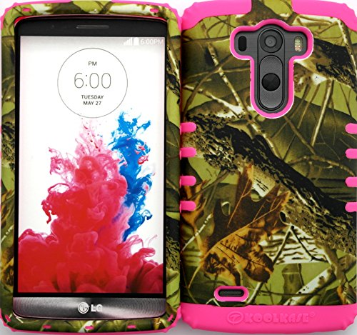 Wireless Fones TM Hybrid Dual Layer Cover Case for LG G3 Mossy Camouflage Exclusive Camo Snap on Pink Skin