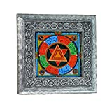MJR Digital Print Carved White Metal Decorative Dry Fruits Box- The Abstract Design - 5 x 5 inches.