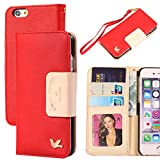 iPhone 6 Case,(4.7),By HiLDA,Wallet Case,PU Leather Case,Credit Card Holder,Flip Cover Skin[Red]