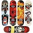 [pro.tec] Skateboard Classic (79 x 20,5 x 13,5 cm)(ABEC 7 - Kugellager)(Angry Skull) Komplett Board / Retro Board /