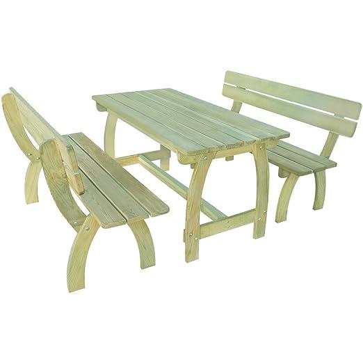vidaXL Holz Gartenset Gartenmöbel Essgruppe Sitzgruppe Holzmöbel Tisch Bank Kiefernholz