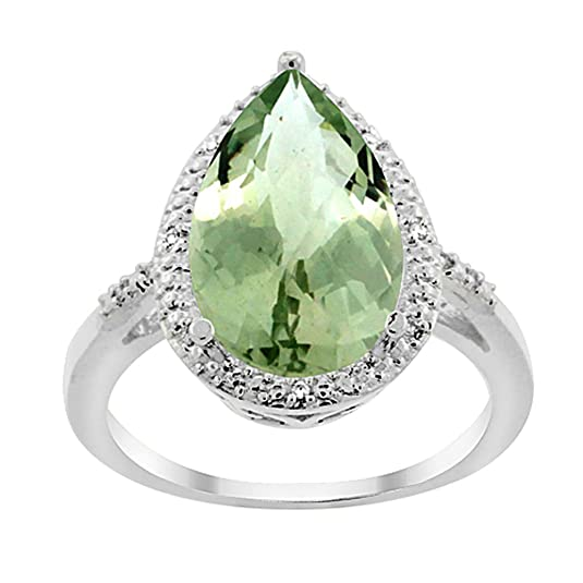 Revoni 14ct White Gold Natural Green Amethyst Ring Pear Shape 10x15 mm Diamond Accent