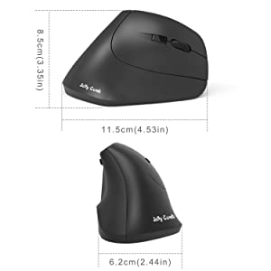 Ergonomic Mouse, Jelly Comb 2.4G Wireless Ergonomic Mouse Optical Mouse with 800/1200 / 1600 DPI, 6 Buttons - Black