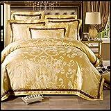 高級ジャガードのサテンの綿/クイーン・キングサイズの寝具セット/シーツと枕カバー掛け布団カバー