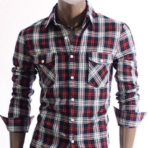 Stylish Check Mens Casual Slim fit Dress Shirts Red XL