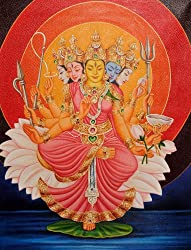 Exotic India Goddess Gayatri - Oil on Canvas
